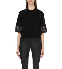 Karen Millen Lace Detail Stretch Knit Top Black