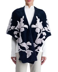 Gorski Mink Stole With Floral Intarsia Medium Blue