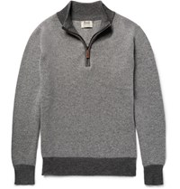 William Lockie Two Tone Birdseye Cashmere Half Zip Sweater Gray