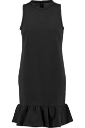Mother Of Pearl Mayers Ruffled Cotton And Modal Blend Scuba Jersey Mini Dress Black