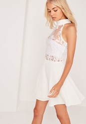 Missguided Lace Top Sleeveless Skater Dress White White