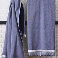 Cb2 The Hill Side Selvedge Navy Bath Towel