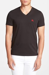 Men's Burberry Brit 'Lindon' V Neck Cotton T Shirt Black