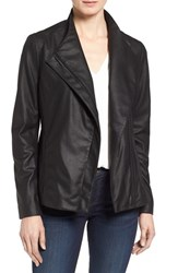 T Tahari Petite Women's 'Kelly' Leather Peplum Jacket Black