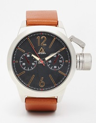 Asos Oversized Watch In Brown With Removable Crown