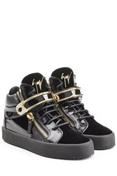 Giuseppe Zanotti Patent Leather High Top Sneakers With Velvet Black