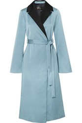 Stine Goya Leanne Two Tone Hammered Satin Coat Blue