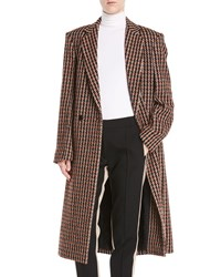 Derek Lam One Button Houndstooth Plaid Easy Fit Caban Coat Multi