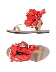 Cafe'noir Cafenoir Toe Strap Sandals Red