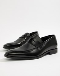 Pier One Penny Loafers In Black Etched Leather