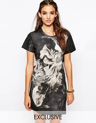 Religion Boxy T Shirt Dress In All Over Water Art Flower Print With Side Zip Detail