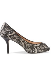 Lucy Choi London Chiswick Lace And Leather Pumps Black