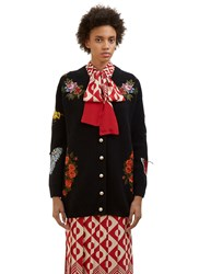 Gucci Floral Embroidered Ribbed Knit Cardigan Black