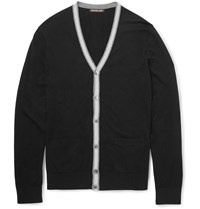 Michael Kors Contrast Trimmed Knitted Cardigan Black