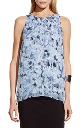 Women's Vince Camuto 'Broken Prism' Print Sleeveless Chiffon Overlay Blouse Echo Blue