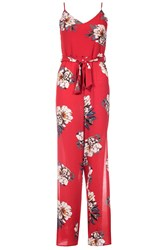 Quiz Red Crepe Floral Jumpsuit Red