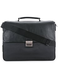 Cerruti 1881 Zipped Briefcase Men Calf Leather Nylon One Size Black