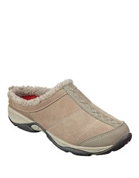 Easy Spirit Eilena Faux Fur Trimmed Suede Mules Taupe