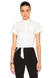 Maison Martin Margiela Mm6 Maison Margiela Poplin Tie Top In White