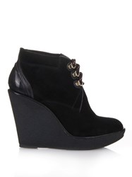 Burberry Suede And Leather Wedge Boots