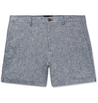 Club Monaco Jax Slim Fit Stretch Linen And Cotton Blend Chambray Shorts Blue
