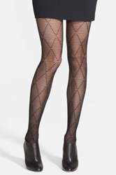 Hue 'Striped Diamond' Control Top Tights Black