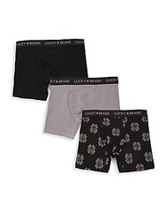 Lucky Brand Three Set Cotton Blend Boxer Briefs Jet Black