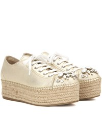 Miu Miu Embellished Leather Espadrille Sneakers Gold