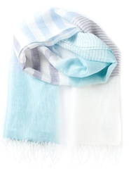 Canali Fringed Striped Scarf Blue