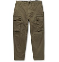 Alex Mill City Cropped Cotton Blend Twill Cargo Trousers Green
