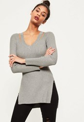 Missguided Grey V Neck Ribbed Knitted Tunic Top