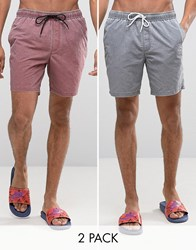 Asos Swim Shorts 2 Pack In Acid Wash Grey And Burgundy In Mid Length Multi