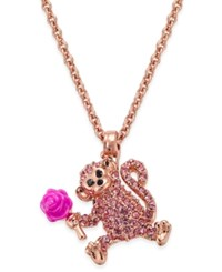 Kate Spade New York Rose Gold Tone Pink Pave Monkey And Rose Pendant Necklace