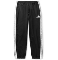 Flagstuff Logo Embroidered Tapered Striped Shell Sweatpants Black
