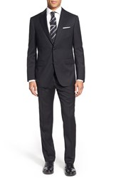 Men's Big And Tall Pal Zileri Classic Fit Solid Wool Suit Black