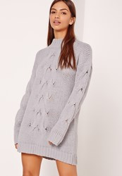 Missguided Grey Chunky Cable Knit Mini Dress