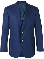 Canali Two Button Blazer Men Silk Linen Flax Cupro Wool 50 Blue