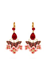 Dolce And Gabbana Butterfly Crystal Drop Clip On Earrings Multi