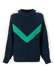 Sjyp Chevron Knitted Sweater Blue