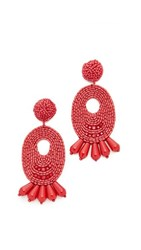 Kenneth Jay Lane Beaded Oval Drop Earrings Dark Coral