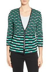 Ming Wang Women's Print Knit V Neck Jacket