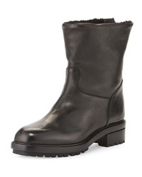 Sartore Shearling Lined Leather Moto Boot Black