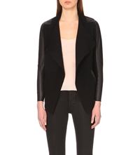 Ted Baker Hazie Leather Trim Wrap Wool Jacket Black