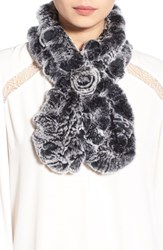 Women's Dena Ruffled Genuine Rex Rabbit Fur Scarf Black Black Frost