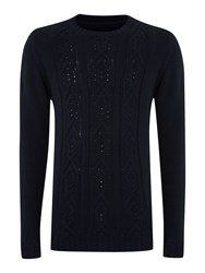 Criminal Gibson Front Cable Knit Jumper Navy