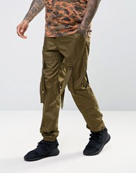 Asos Slim Joggers With Strapping Detail In Khaki Ermine Green