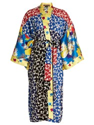 Duro Olowu Nina Contrast Panel Silk And Crepe Kimono Dress Multi
