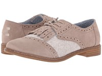 Toms Brogue Dress Lace Up Desert Taupe Suede Wool Kiltie Women's Lace Up Cap Toe Shoes Brown