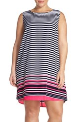 Plus Size Women's Halogen Sleeveless Shift Dress Navy Coral Border Stripe