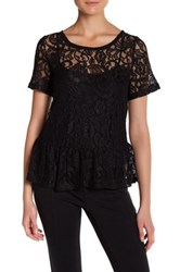 Joe Fresh Lace Peplum Shirt Black